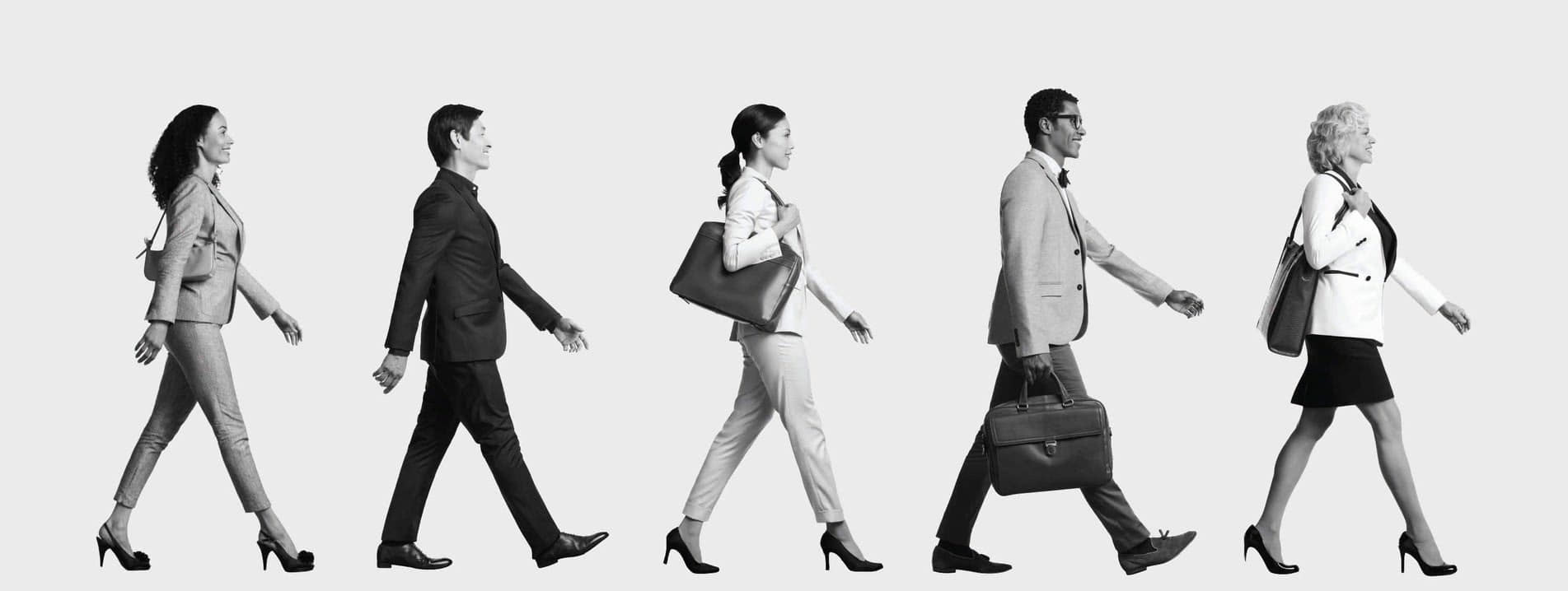 Job Applicants walking the towards their career goal.
