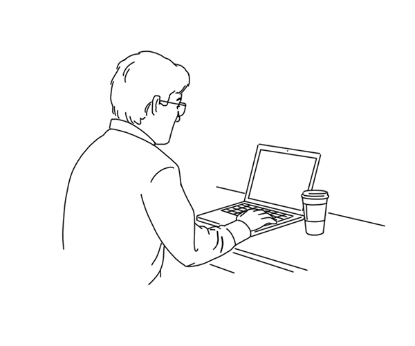 Illustration of a man on a laptop